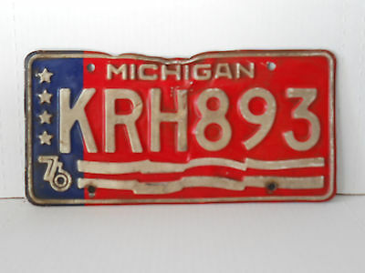 1976 Michigan License Plate Tag Vintage Antique Collectible