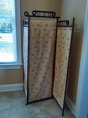 Antique Farbric Covered Three Panel Wood Privacy Screen
