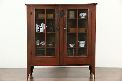Country Pine Antique 1880 Pantry Pie Safe Cupboard, Original Red Paint