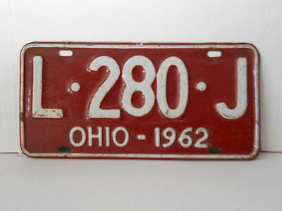 1962 Ohio License Plate Tag Vintage Antique Collectible
