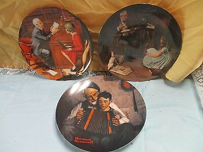 set of 3 Norman Rockwell plates