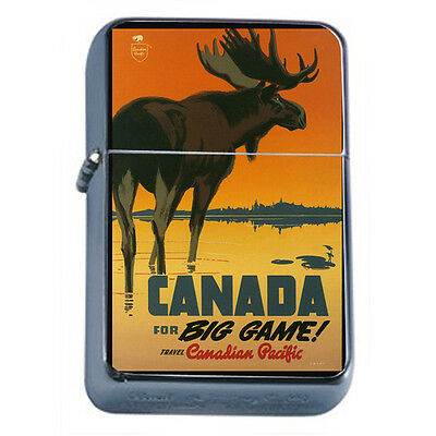 Vintage Poster D52 Windproof Dual Flame Torch Lighter Travel Canada For Big Game