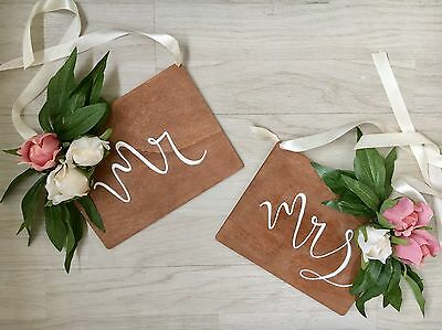 Mr & Mrs Wooden Chair Sign Rustic Wedding Vintage Personalised Gift Decor