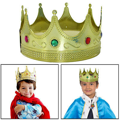 Plastic King's Crown Hat Kids Set of 2 Royal Gold Jeweled King's Crown Costumes