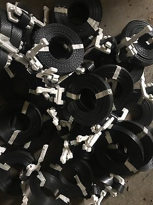 100 Black Poly Pre Cut Straps With Buckle  1/2 17'