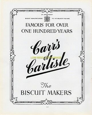 Carrs Of Carlisle, Biscuit Makers - Vintage 1950 - 51 Original Ad Advert Poster