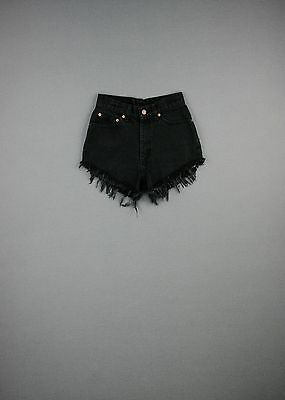 Vintage Levi's High Waist Black Denim Shorts Cut Offs Grunge 00 0 2 4 6 8 10 12