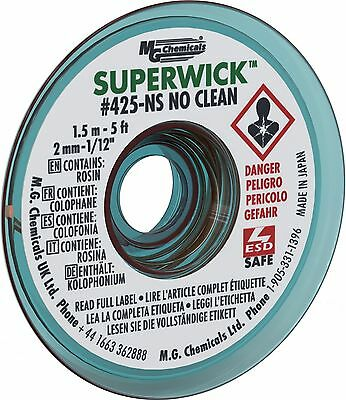 "MG Chemicals #3 No Clean Super Wick Desoldering Braid 0.075"" Width x 5' L... New"