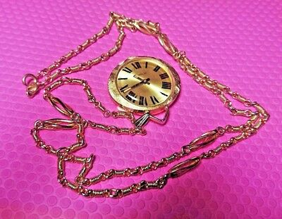 Vintage Art Deco Endura Swiss Open Face Pendant Watch Works Gold Filled Signed