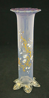 Victorian Stevens & Williams Lilac Opalescent Iridescent Hand Painted Vase