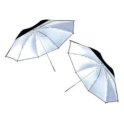 2x 40 in White Satin Umbrella with Reflective Silver Backing and Removable Black