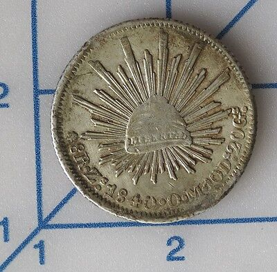 1840 Mexico 8 Reales Cap and Rays Zacatecas Silver Coin Zs - OM