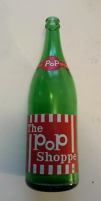 """Scarce Canadian (Ontario) """"the Pop Shoppe"""" 30 Oz. Green Bottle - Red & White Acl"""