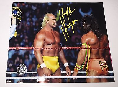 Hulk Hogan Signed 8x10 Photo Vs Warrior WWF Phg Sports
