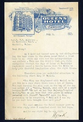 Bed Bugs at QUEEN'S HOTEL 1925 CARDIFF WALES Letterhead DANIEL n LIONS DEN STORY