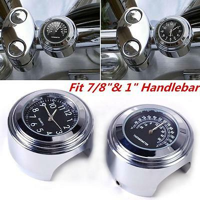 "7/8""  Motorcycle Accessory Handlebar Mount Clock Watch Thermometer For Kawasaki"