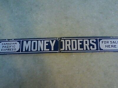Vintage Rare Canadian Pacific Express Money Orders Porcelain Sign