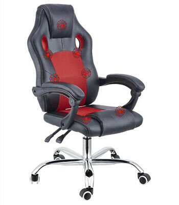 Home Computer Game Office Massage Chair Bonded Leather Lift Heated Swivel Reclin