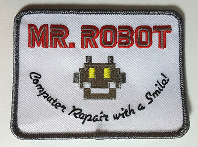 """Mr Robot Computer Repair with a Smile Logo 4.5/"""" Wide Embroidered Patch MRPA-01"""