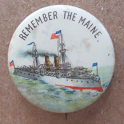 1890's REMEMBER THE MAINE pinback button w /back paper Spanish American War *