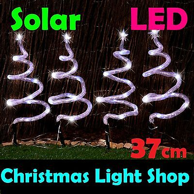 Solar LED Spiral Trees Set 4 WHITE Flashing Christmas Outdoor Garden Path Lights