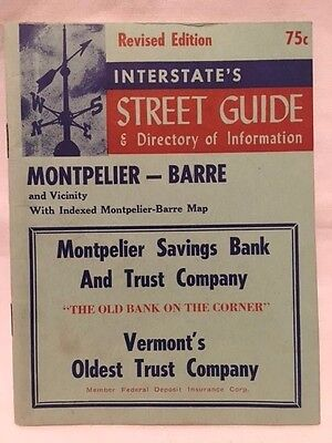 """Vermont """"Interstate's Street Guide & Directory of Information"""" Montpelier-Barre"""