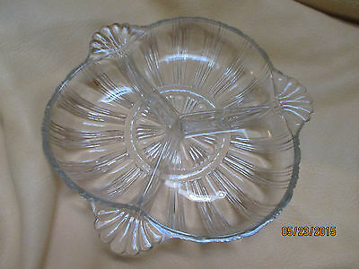 Vintage Pressed Glass Clear Three Section Divided Relish Nut Candy Dish 3 Handle