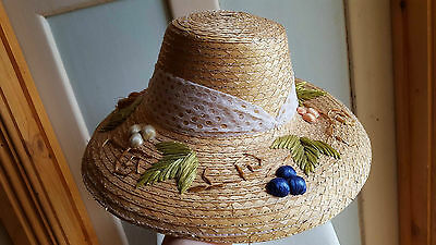 VINTAGE FASHION STYLE 1960's SUN HAT Japan GLAMOUR GIRL chip braid retro