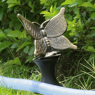 Butterfly Hose Guard Bronze Frog Garden Stake Decor,12.5''H.