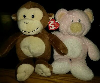 Ty Pluffies set Pinks the bear & Dangles the monkey