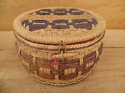 Vintage Old Cane Sewing Box, Old Sewing Case 'full Of Sewing Gear' (D482)