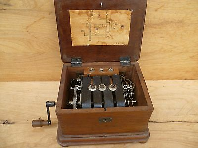 Old Early Unusual Timber Cased P.m.g Phone Receiver, Old Telephone Tool (D483)