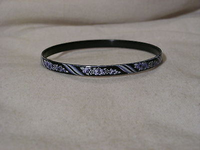 ...Vintage Michaela Frey Enamel Flowers Design Bangle Bracelet...