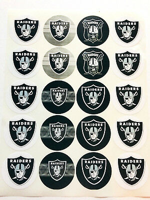 """SET of 20- 2"""" OAKLAND RAIDERS Adhesive Stickers. Make Cupcake Toppers"""
