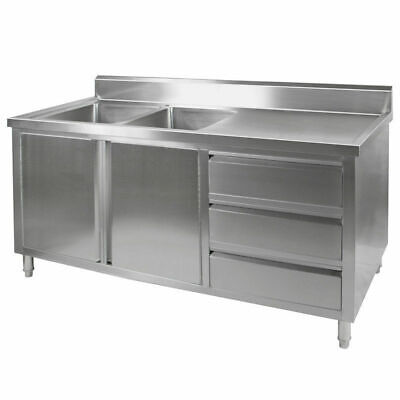 Kitchen Cabinet w Sink, Double Left Bowl, Stainless Steel, 1800x700x900mm
