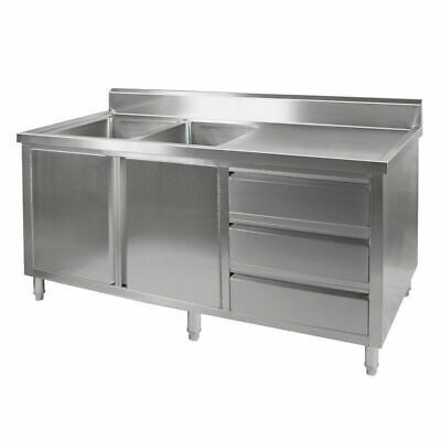Kitchen Cabinet w Sink, Double Leftt Bowl, Stainless Steel, 2100x700x900mm