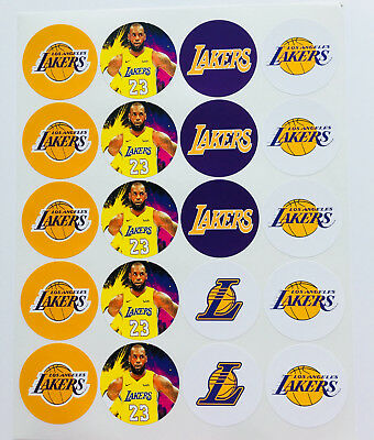 """SET of 20- 2"""" LOS ANGELES LAKERS ADHESIVE STICKERS. Make Cupcake Toppers! Lebron"""