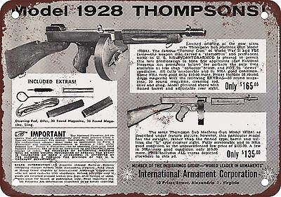 "1962 Model 1928 Thompson Submachine Guns 10"" x 7"" Reproduction Metal Sign"