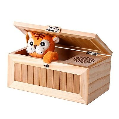 Wooden Useless Box Leave Me Alone Box Machine Sound Don't Touch Tiger Gift Toy