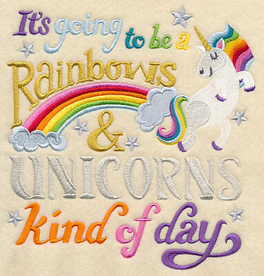 Embroidered Rainbows & unicorns day quilt block,sewing, fabric,cushion panel