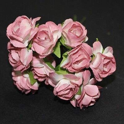 Paper Flower Open Rose Small Bunch of 10 Scrapbook Cake Decoration Craft Wedding