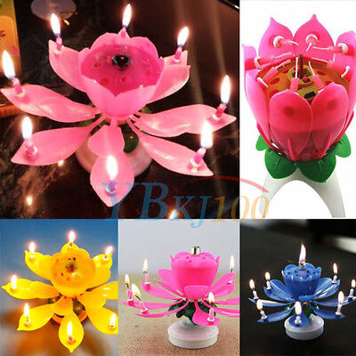 Musical Candle Lotus Flower Rotating Candles Light Happy Birthday Party Gift LJ