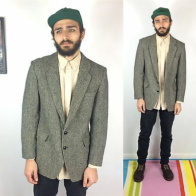 60s Vtg HARRIS TWEED Jacket Grey Herringbone Tweed Sport Coat Blazer Wool 44R