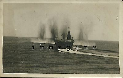 Original photograph/postcard, Royal Navy, Ark Royal slews under bombs, 1941