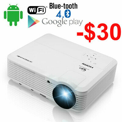 6000lms LED WiFi Android Projector Home Cinema USB LCD 1080p Video HDMI VGA Xbox