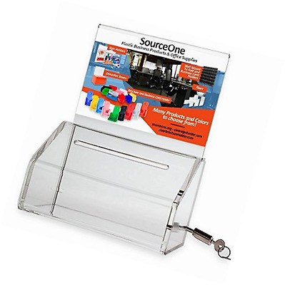 SourceOne Donation Box with Lock – 5-Inch Wide Acrylic Storage Container