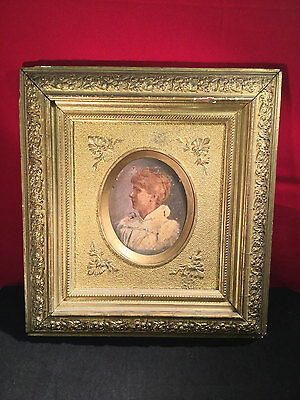 Framed 19th Century Miniature Portrait of a Woman