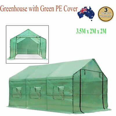 Garden Greenhouse Walk-In Green Plant House Shed Storage PE Cover 3.5M x 2M