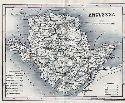 1845 Antique Map Dugdale Anglesea Outline Colour