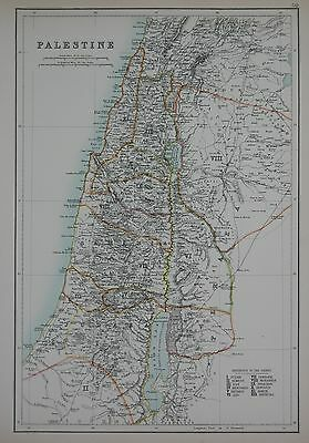 1897 Palestine Large Map With Tribes